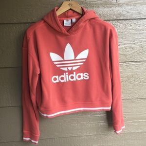 Adidas cropped hooded coral casual top